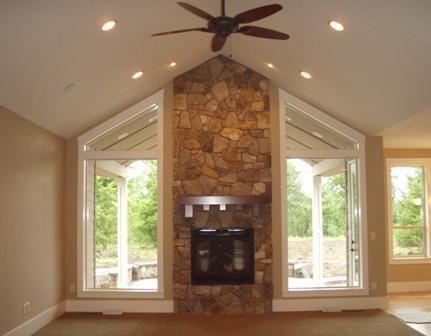 Symmetric Wood Fireplace with Large Window