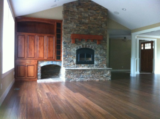 Vaulted Ceiling and Stone Fireplace