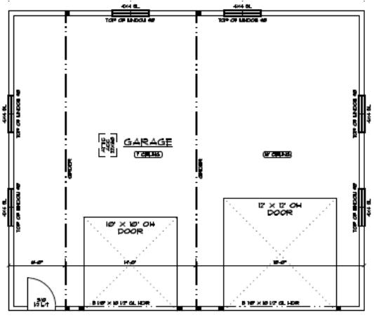 Floor layout plan of 32 foot by 38 foot custom shop