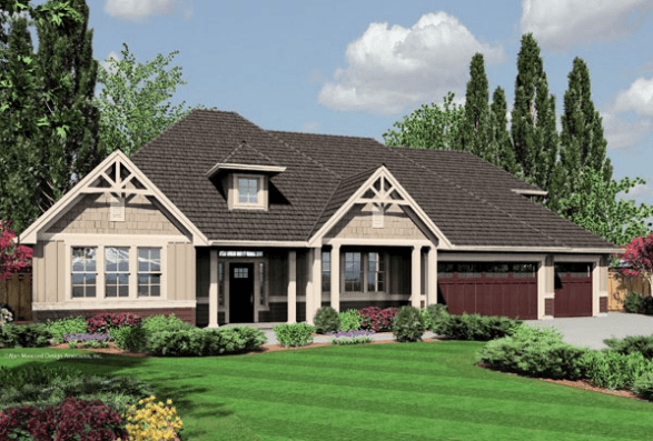 Jasper 2400 square foot custom home for How big is a two car garage square feet