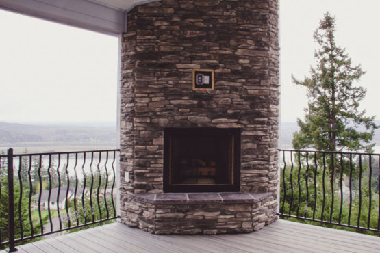 Outdoor Fireplace Custom Home Kalama WA