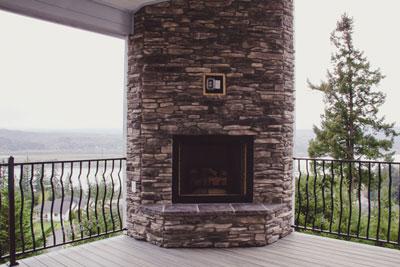 Outdoor Fireplace Custom Home Kalama WA