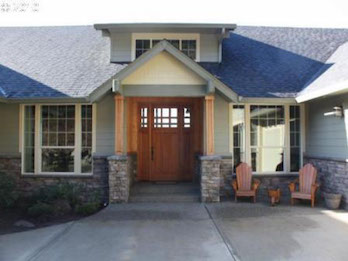 Timber Entryway featured on a custom home built in Vancouver WA