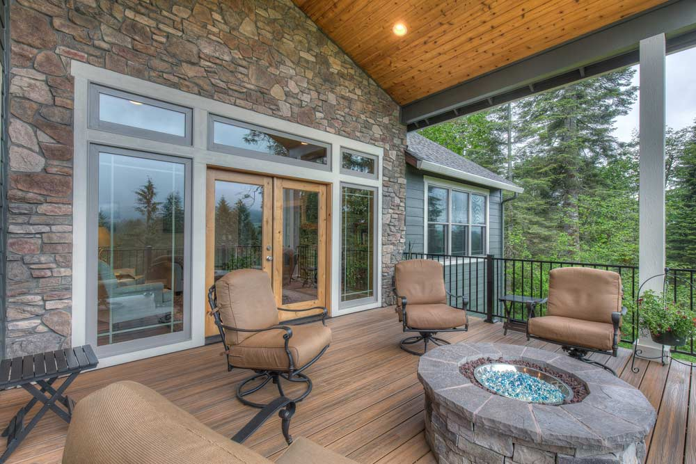 Leland Custom Home Deck with Fire Pit